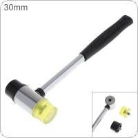 30mm Rubber Hammer Double Faced Work Glazing Window Nylon Hammer with Round Head and Non-slip Handle DIY Hand Tool