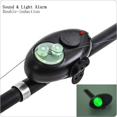 Electronic Double Induction Sound Light Fish Bite Alarm Tool Luminous Noctilucence LED Light Bell Clip Sea Rock Fishing Rod Alarm Device