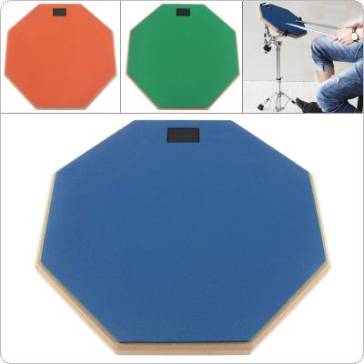 12 Inch Rubber Wooden Dumb Drum Practice Training Drum Pad for Jazz Drums Exercise with 3 Colors Optional