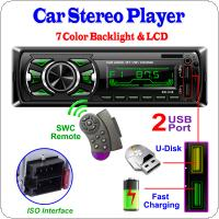 DC 12V 7 Color Backlight Bluetooth Car Stereo MP3 Player Dual USB Port Support ISO Interface and Fast Charging with SWC Remote