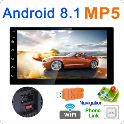 7 Inch Bluetooth 2 DIN QUAD-Core Android 8.1 Car Mp5 Player GPS Navigation AM / FM Radio Support Mirror Link / Phonelink / Wifi