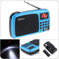 Rolton T301S All Wave Receiver Portable TF Card USB Mini FM Radio Speaker with LED Display Subwoofer MP3 Music Player / Torch Lamp / Money Verify