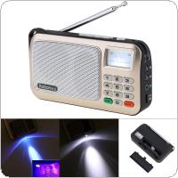 Rolton W505 Portable TF Card USB Mini FM Radio Speaker with LED Display Subwoofer MP3 Music Player / Torch Lamp / Money Verify for Older / Children
