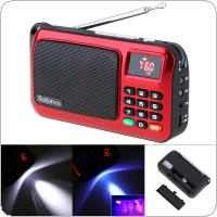 Rolton W405 Portable TF Card USB Mini FM Elder Radio Speaker with LCD Display Subwoofer MP3 Music Player / Torch Lamp / Verify for PC / Earphone