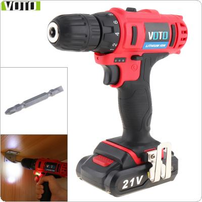 VOTO AC 100 - 240V Cordless 21V Two-speed Electric Screwdriver / Drill with Max Lithium Battery and Power Display Light for Handling Screws / Punching