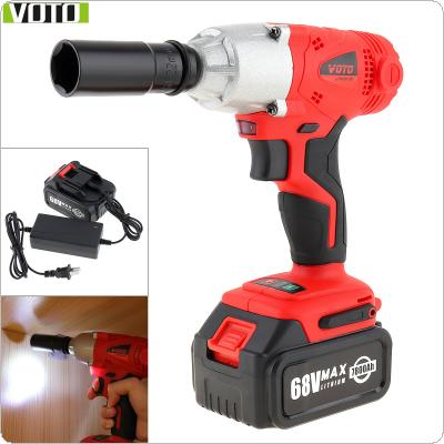 VOTO AC 100 - 240V Cordless 68V Two-speed Impact Electric Wrench with Max Lithium Battery and Power Display Light for Car Repair / Construction Scaffolding