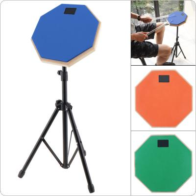8 Inch Rubber Wooden Dumb Drum Practice Training Drum Pad with Stand 3 Colors Optional