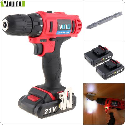 VOTO AC 100 - 240V Cordless 21V Two-speed Electric Screwdriver / Drill with Max 2 Lithium Batteries and Power Display Light for Handling Screws / Punching