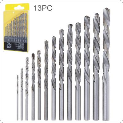 13pcs/set HHS 4241 Twist Drill Bits Hole Qpener with Straight Shank and Plastic Box for Drilling Aluminum / Plastic / Wood