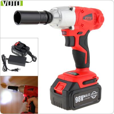 VOTO AC 100 - 240V Cordless 98V Two-speed Impact Electric Wrench with Max Lithium Battery and Power Display Light for Car Repair / Construction Scaffolding