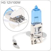12V H3 100W 5000K White Light Super Bright Car Halogen Lamp Auto Front Headlight Fog Bulb