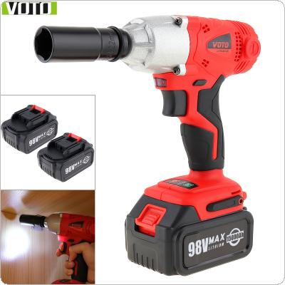 VOTO AC 100 - 240V Cordless 98V Two-speed Impact Electric Wrench with Max 2 Lithium Batteries and Power Display Light for Car Repair / Construction Scaffolding