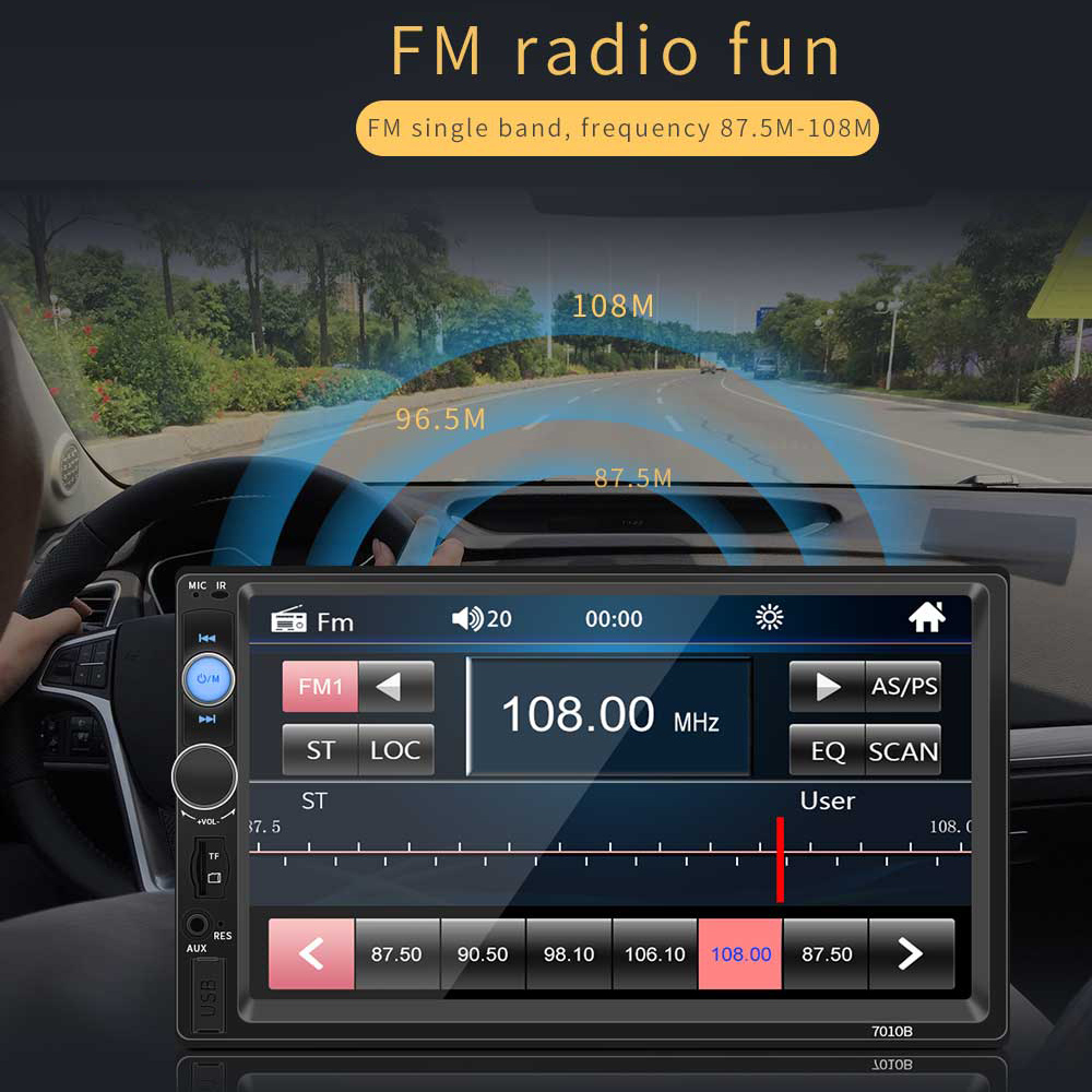 7 Inch 2 DIN Bluetooth In Dash HD Touch Screen Car Video FM Radio Stereo Player Support Mirror Link for iPhone and Android / Aux In / Rear View Camera