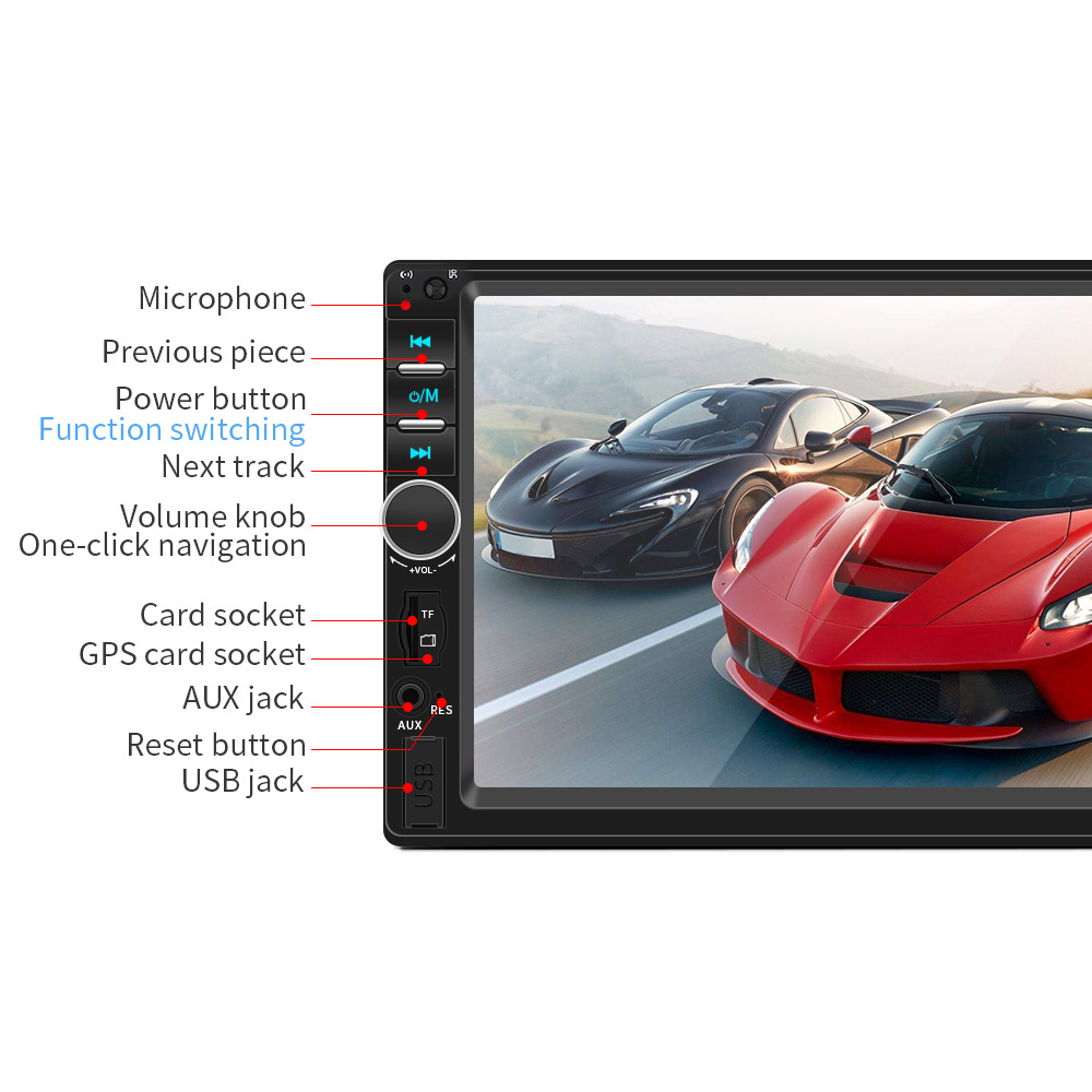 7 Inch 2 DIN Bluetooth In Dash HD Touch Screen Car Video FM Radio Stereo Player Support Mirror Link for Android / Aux In / Rear View Camera