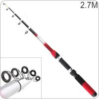 2.7m Portable Telescopic Glassfiber Fishing Rod Travel Sea Rock Spinning Fishing Pole