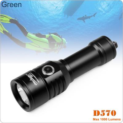 ORCATORCH D570 1000 Lumens 2-in-1 Beams + Laser Diving Flashlight with Green Laser and Underwater 150m Diving for Professional Diving / Outdoor