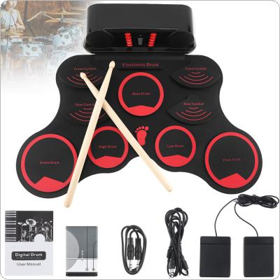 Portable Roll Up Electronic Drum Set 9 Silicon Pads Built-in Speakers with Drumsticks Sustain Pedal Support USB MIDI