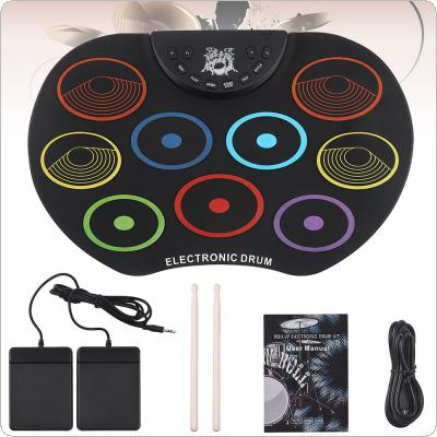 Portable Electronic Digital USB 9 Pads Colorful Roll up Set Silicone Electric Drum Kit with Drumsticks and Sustain Pedal