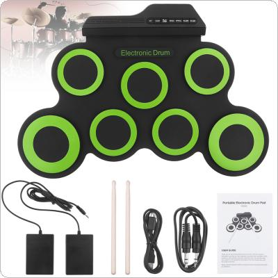 Portable Electronic Digital USB 7 Pads Roll up Set Silicone Green Electric Drum Kit with Drumsticks and Sustain Pedal