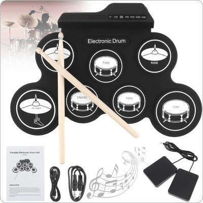 Portable Electronic Digital USB 7 Pads Roll up Set Silicone Electric Drum Kit with Drumsticks and Sustain Pedal