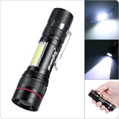 T140 Telescopic Focusing 500 Lumens T6 + Double Faced COB Aluminum Alloy Glare LED Flashlight with 3 Modes and USB Charge for Outdoor
