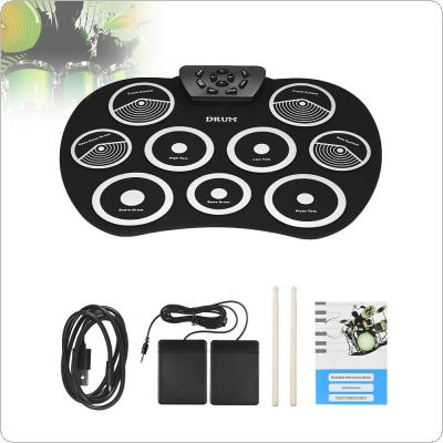 Portable Electronic 9 Pads Roll Up Silicone Drum with Drumsticks and Sustain Pedal Children Students Practice Drum