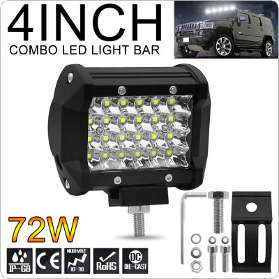 4 Inch 7200LM 72W 4 Rows Led Work Light Bar 6000K White Waterproof for Off-Road Suv Boat 4X4 Jeep JK 4Wd Truck 12V-24V