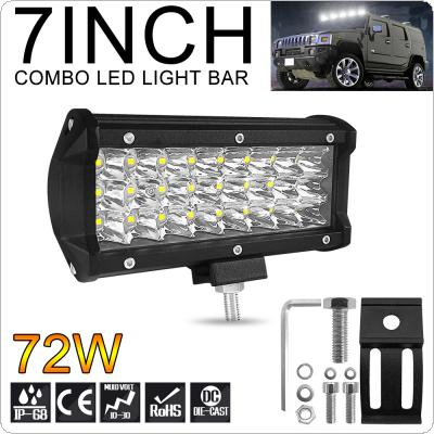 7 Inch 7200LM 72W 3 Rows Led Work Light Bar 6000K White Waterproof for Off-Road Suv Boat 4X4 Jeep JK 4Wd Truck 12V-24V