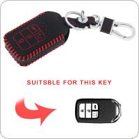 2 Colors 4 Buttons Hand Sewed Leather Car Key Cover Protector Holder with Hang Buckle Fit for Honda 2016 2017 CRV Pilot Accord Civic Fit Freed Remote