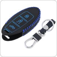 2 Colors 3 Buttons Hand Sewed Leather Car Key Cover Protector Holder with Hang Buckle Fit for Nissan Qashqai Pathfinder Versa Tidda Murano Rogue X-Trail Smart