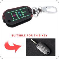 3 Buttons Hand Sewed Leather Noctilucent Car Key Cover Protector Holder with Hang Buckle Fit for Citroen C4 CACTUS C5 C3 C4L Peugeot 508 301 2008 3008 408