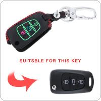 3 Colors 3 Buttons Hand Sewed  3D Leather Noctilucent Car Key Cover Protector Holder with Hang Buckle Fit for KIA RIO K2 K5 Sportage Sorento