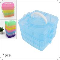 Three Layer 18 Lattice PP Plastic Small Portable Detachable Storage Hold All Box for Tools / Home