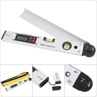 400MM / 16 Inch Precision Magnetic Aluminum Alloy Digital Display Angle Level Ruler with LCD Screen and 2 Blisters Design for Building Decoration Measurement