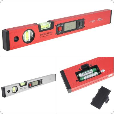 400MM / 16 Inch Precision Magnetic Aluminum Alloy Silver / Red Digital Display Level Ruler with LCD Screen and 2 Blisters Design for Building Measurement