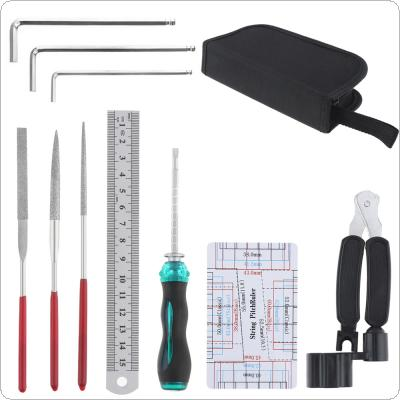 10pcs Guitar Repairing Maintenance Tools Kit Include Guitar Winder String Cutter Ruler Screwdriver Groove Polishing Set with Bag