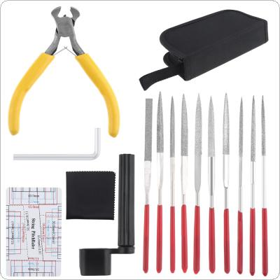 15pcs Guitar Repairing Maintenance Cleaning Tools Kit Include String Pitchruler Cutter Guitar Winder Diamond Files Nut Saddle Groove Polishing Set with Bag