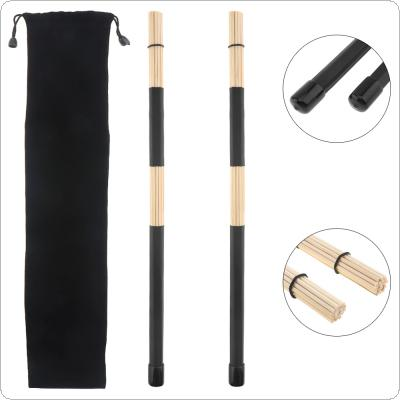 1 Pair 40cm 15.7inch Jazz Drum Brushes Black Rubber Handle Bamboo Drumsticks with Velvet Bag