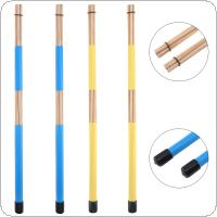 1 Pair 40cm 15.7inch Jazz Drum Brushes Bamboo Drumsticks Rubber Handle Blue / Yellow Optional