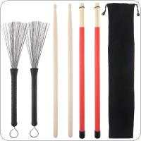 4pcs Jazz Drumsticks Set Include 5A Maple Drum Sticks Bamboo Steel Wire Brushes and Velvet Bag