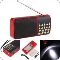 E51 Portable Radio Mini Audio Card Speaker FM Radio with One Button Illumination and Break Point Memory for Home / Outdoor