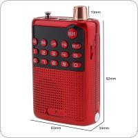 E55 Portable Radio Mini Audio Card Speaker FM Radio with 3.5mm Headphone Jack for Home / Outdoor