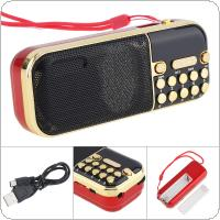 E57 Portable Radio Mini Audio Card Speaker FM Radio with 3.5mm Headphone Jack for Home / Outdoor