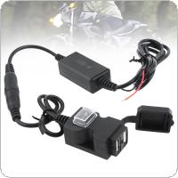 9V - 90V DC 5V 2.1A 1A Double USB Adapter Waterproof Motorcycle Charger with Switch Button and 2 Kinds Base Brackets