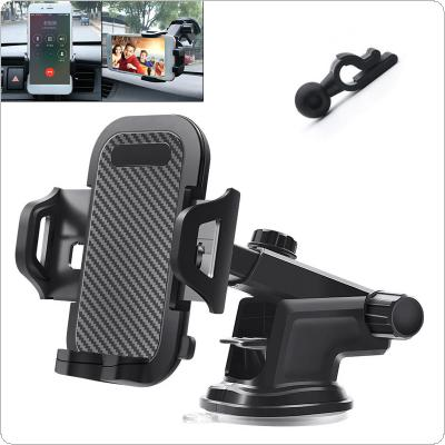 3 In 1 ABS + PVC Multi-function Carbon Fiber Pattern Car Air Outlet Mobile Phone Holder with Telescopic Arm Support Omnidirectional Rotation for 50 - 100mm