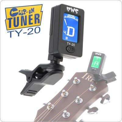 Portable Clip-on Guitar Tuner Double Color Backlighting with Coin Battery for Chromatic / Guitar / Bass / Ukulele / Violin