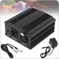 USB 48V 1-Channel Phantom Power Supply with One XLR Audio Cable for Condenser Microphone Studio Music Voice Recording Equipment
