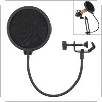Double Layer Studio Microphone Pop Filter Flexible Wind Screen Mask Mic Shield for Speaking Recording Accessories