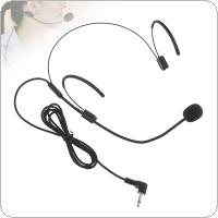 Universal Portable Headset Microphone Wired 3.5mm Jack Condenser Mic for Applicable to Teacher / Guides / Interviews / Performances / Speeches