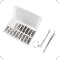 1000pcs Boxed Tiny Screws Nut Watch Eyeglass Glasses Repair Tool Set Kit with Screwdriver and Tweezers